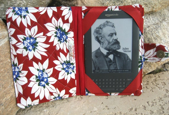 Kindle 3 eReader or Kindle Fire Cover Rasperry Red, White and Blue Floral