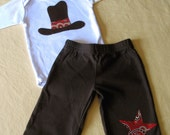 Cowboy hat one-piece bodysuit and pants set -- long sleeves