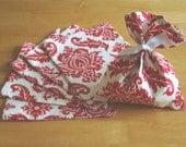 6 party favor gift bags in Red Damask - Joel Dewberry Fabric