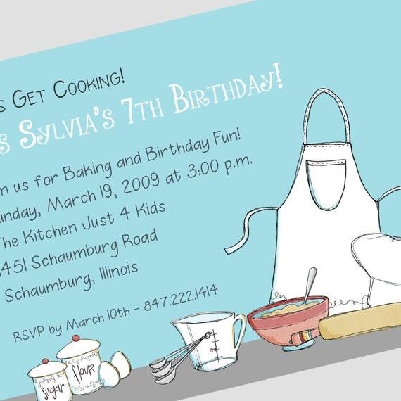 Cooking Party Invitation Printable Invitation Custom – Kids Cooking Party Invitations