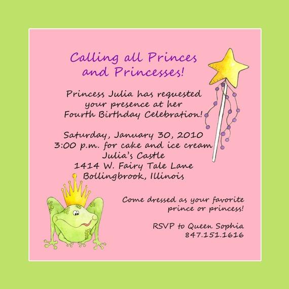 princess theme birthday party invitation custom wording, Party invitations