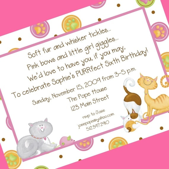 Cat Birthday Party Invitation 12 Invitations and Envelopes – Cat Party Invitations