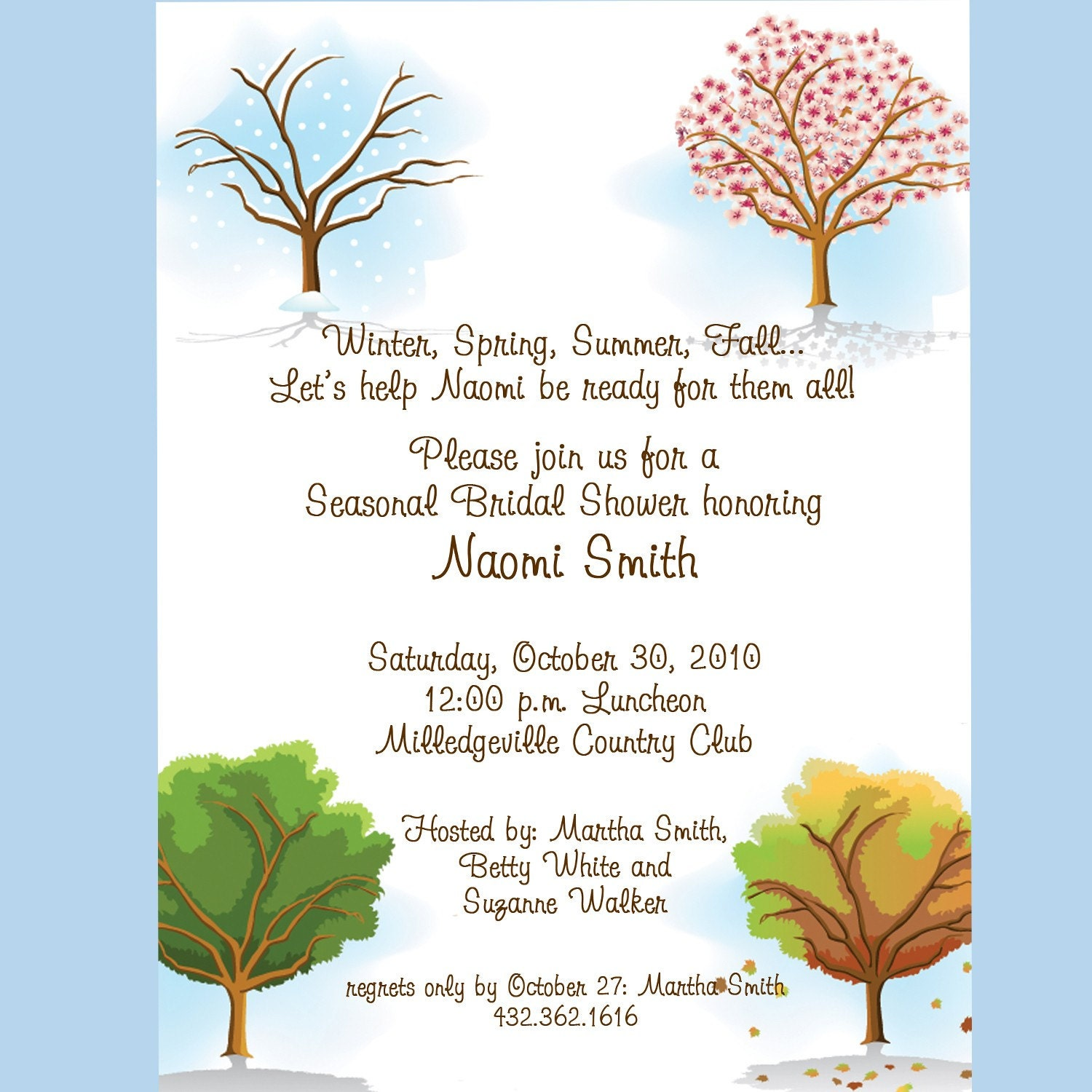 Four Seasons Bridal Shower Invitation Custom by cardsbycarolyn
