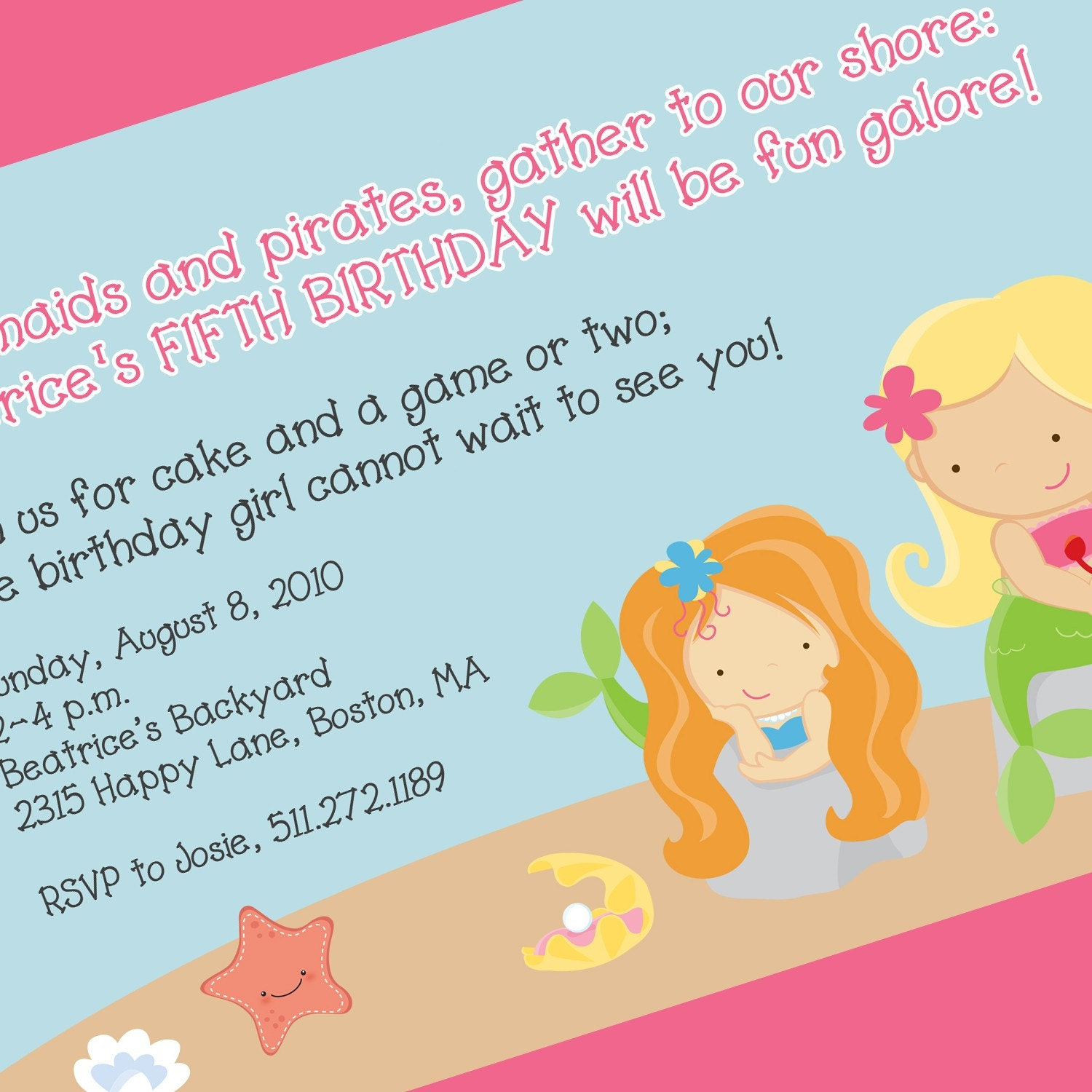 Mermaid Party Invitation Mermaid Birthday Theme Mermaid