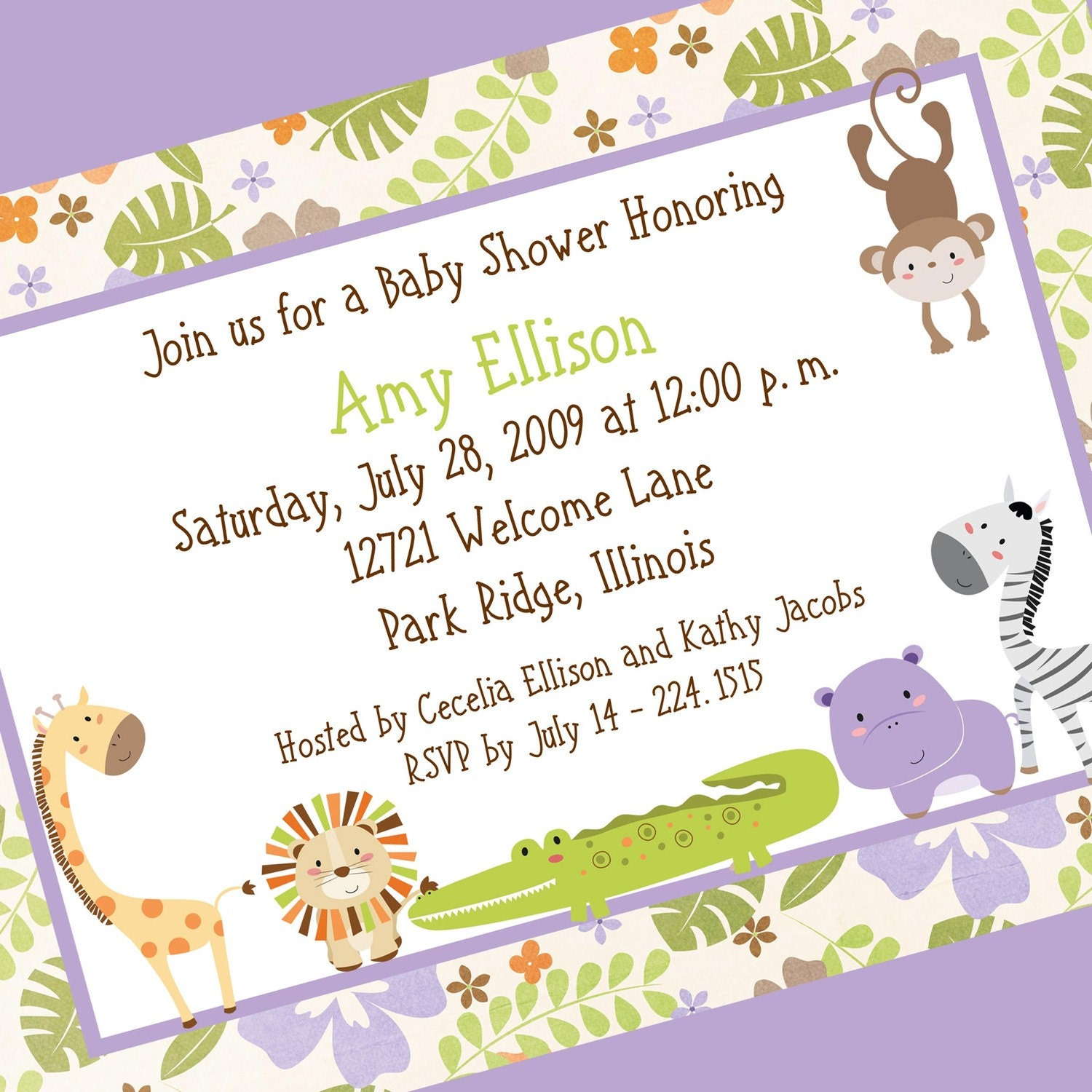 Floral Jungle Baby Shower Invitation Printable By Cardsbycarolyn