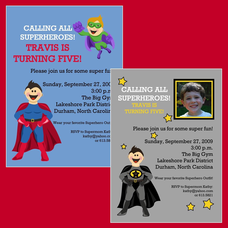 superhero party birthday invitation printable by