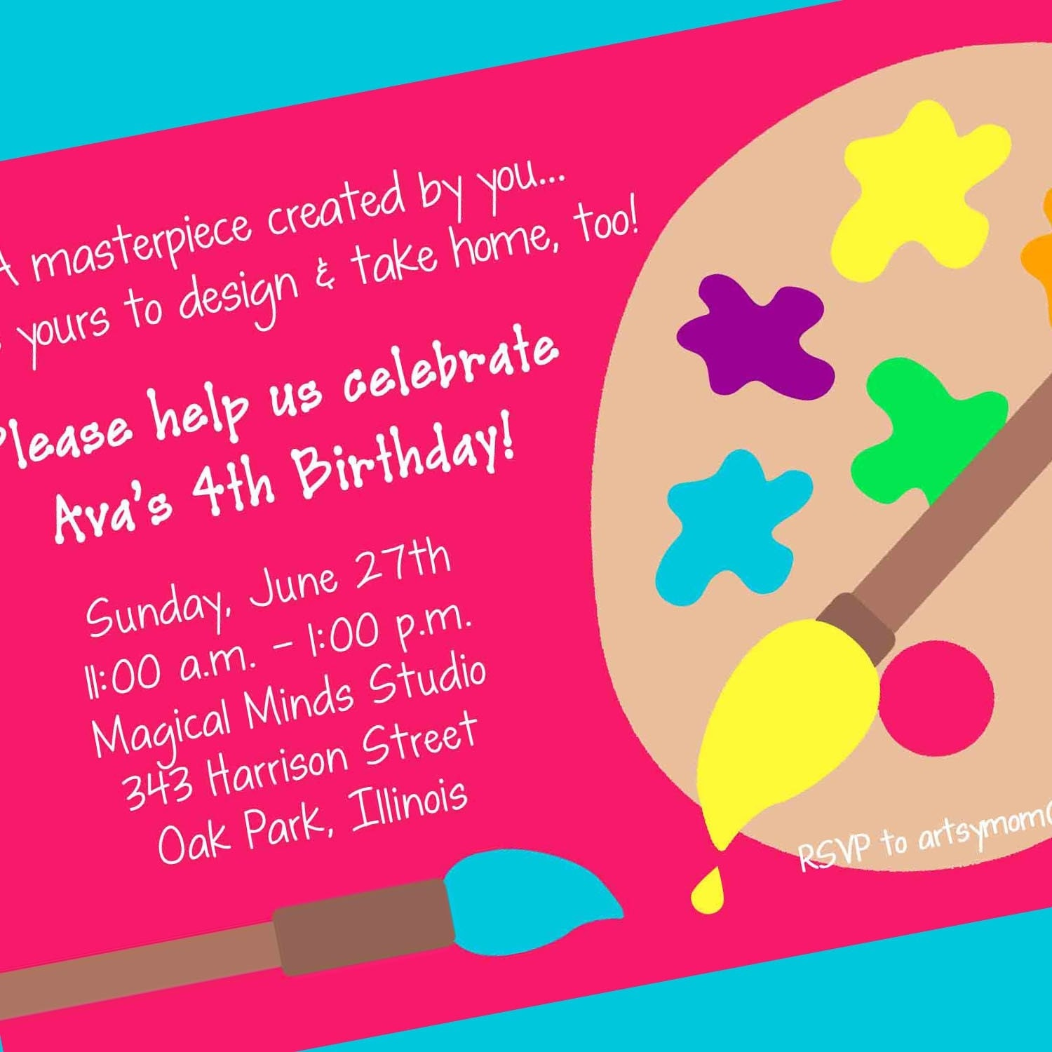 Artist birthday party invitation wording quotes filmwisefo