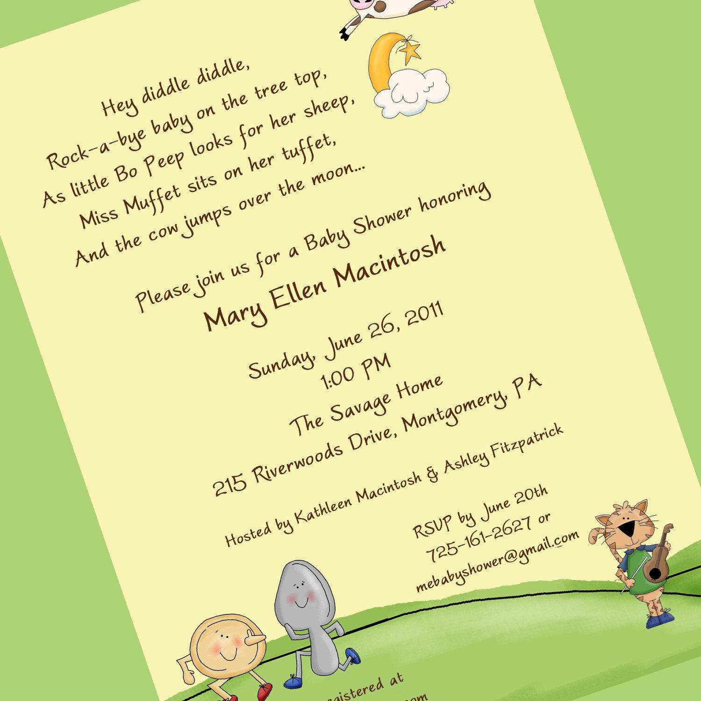 Nursery Rhyme Baby Shower Invitation Printable by cardsbycarolyn