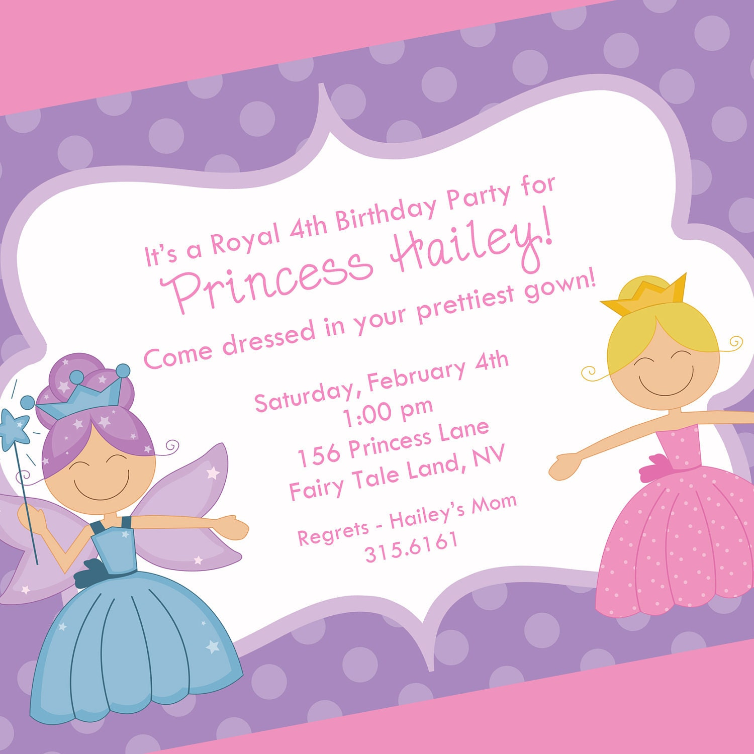 Princess Birthday Invitation Printable Invitation Design