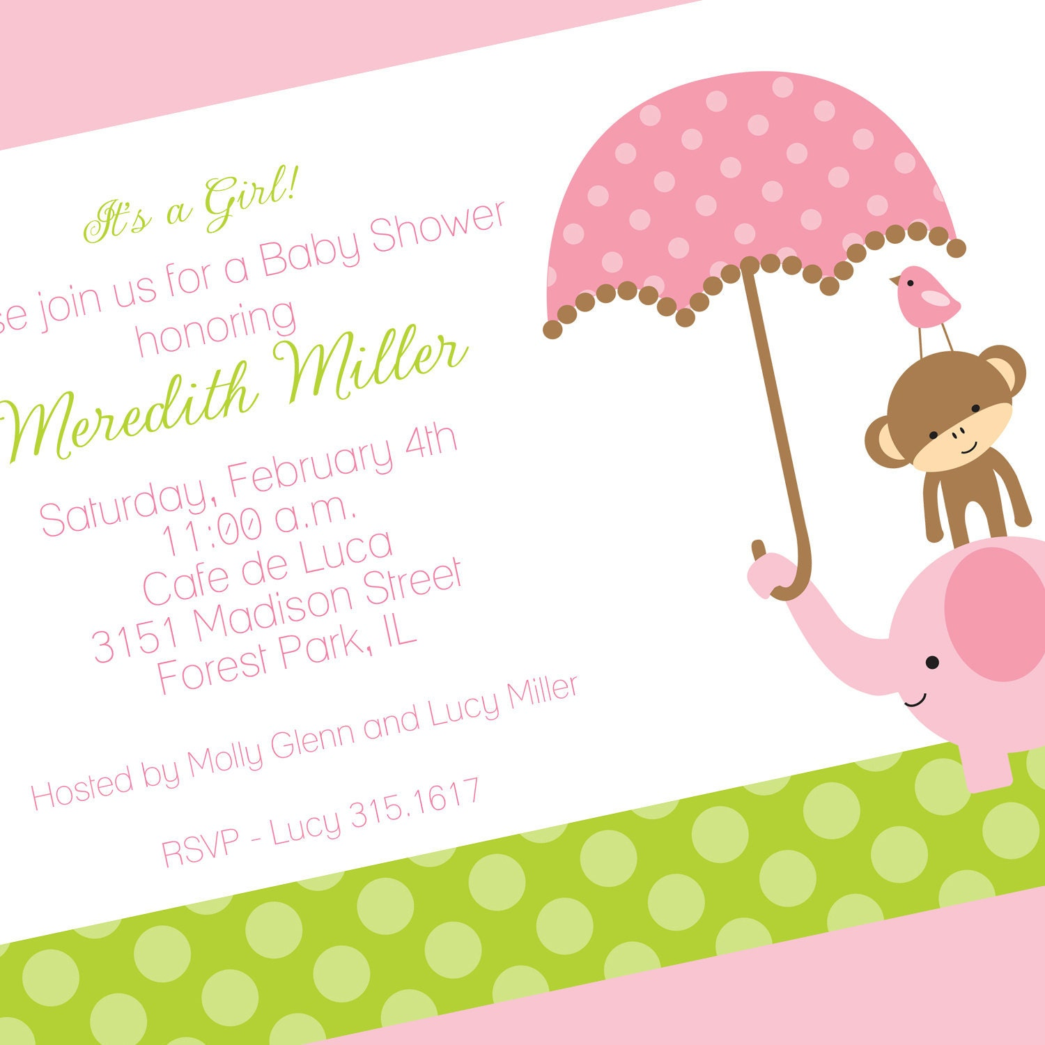 Jungle Baby Girl Shower Invitation Jungle First Birthday