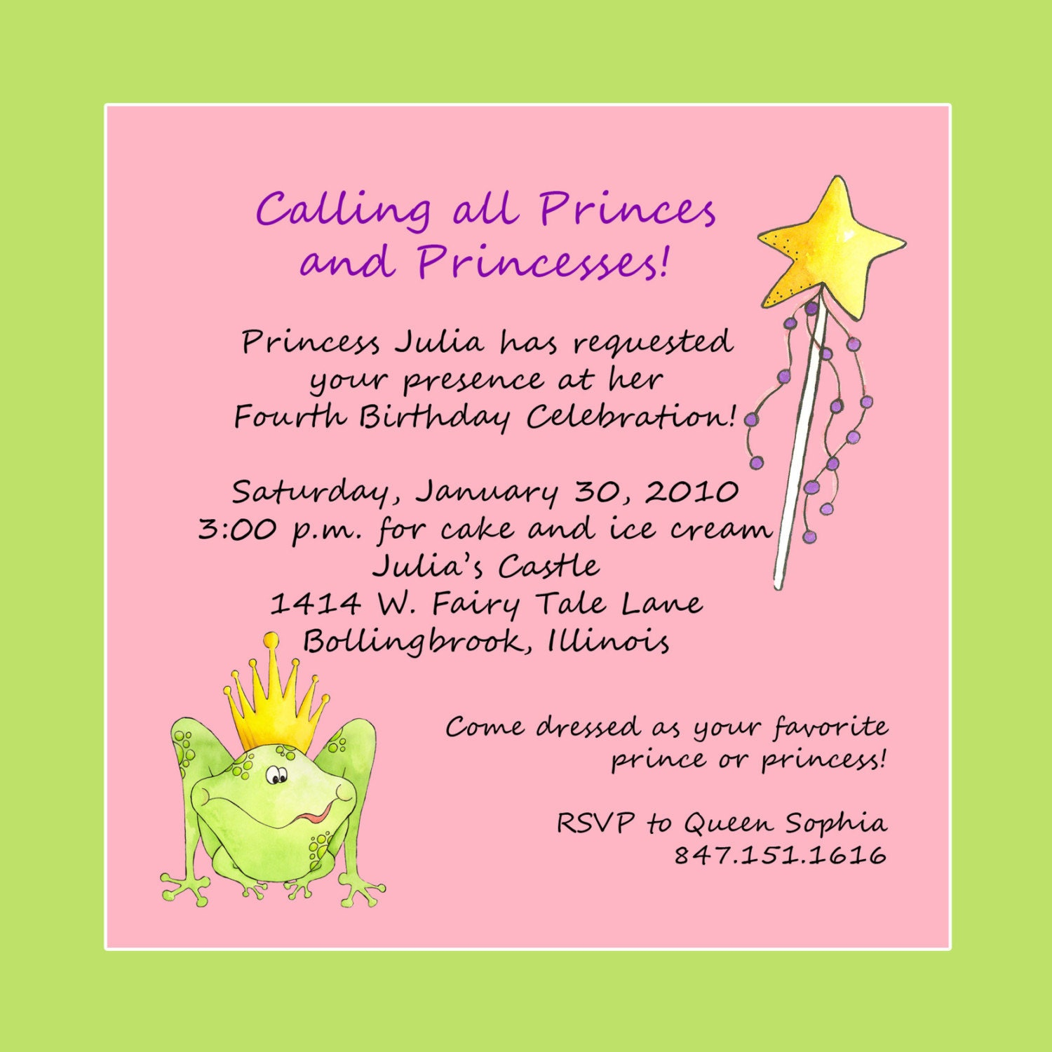 Princess Theme Birthday Party Invitation Custom Wording