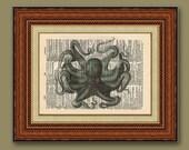 Octopus 8x10 Vintage Dictionary Print- Buy 2 get 1 FREE