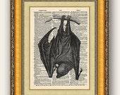 Hanging Bat 8x10 Vintage Dictionary Print, Buy 2 get 1 FREE