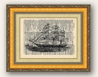 Vintage Dictionary Art Print Sailboat Triple Masted 8x10 - Buy 2 get 1 FREE