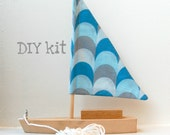 DIY toy sailboat with wavy blue sail