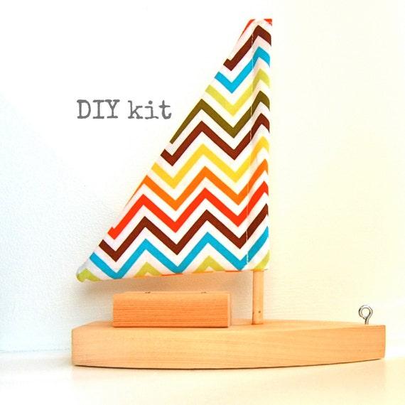 DIY toy sailboat kit with rainbow chevron sail
