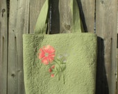 Flowered Tote Bag light green and pink