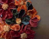 SALE Vintage Millinery Flowers WERE 18.00 NOW 11.95 Velvety Daisies And Buds Charming Shabby Persimmon Burnt Orange Bark