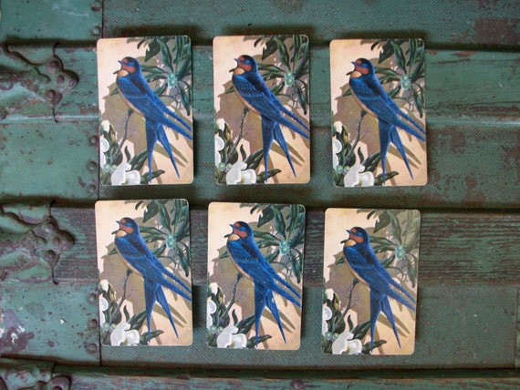 LAST SET Vintage Blue Bird Playing Cards Set of 6 For Altered Art, Mixed Media, Or....