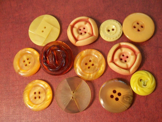 Vintage Buttons Butterscotch and Yellow Lot of 12  Destash