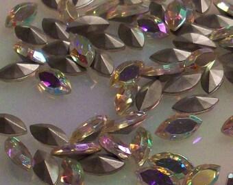 12 10x5mm Crystal ab Navette Vintage Czech Glass Titania Crystal AB Crystal Titania 10x5mm Navettes Crystal AB Navettes Titania Navettes