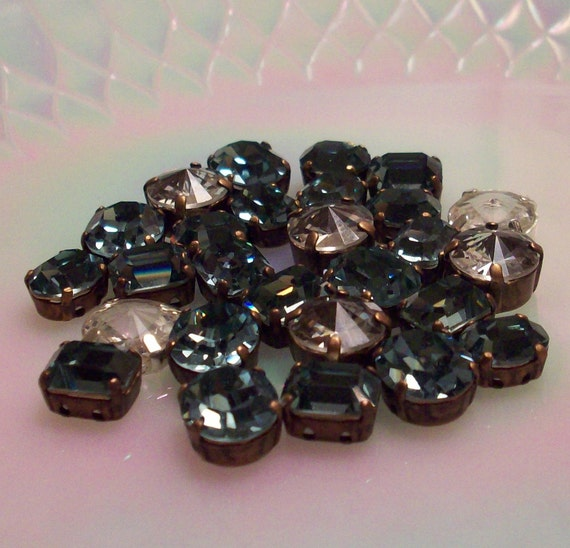 27 Piece Mix of Swarovski Sew ons Swarovski Crystal Rivoli ss47 Sew Ons Swarovski indian sapphire sew ons