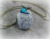 Locket Necklace With Blue Bird Jewelry