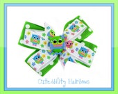 Owl Hairbow Green Owl Boutique Layered Hair Bow Polka Dot Hair Clip