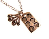 Muffin Pan And Measuring Spoons Necklace Antiqued Copper Cupcake Pan  Baking Theme Jewelry