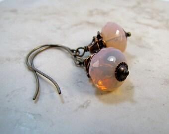 Pink Glass Opal Earrings