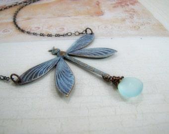 Dragonfly Necklace Aqua Chalcedony Gemstone Jewelry