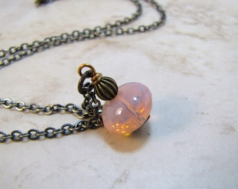 Pink Opalescent Antiqued Brass Necklace