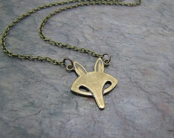 Fox Necklace, Retro Fox Necklace, Brass Fox Necklace