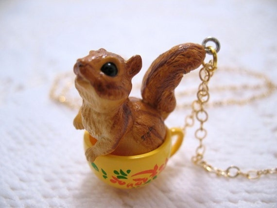 Chipmunk In A Teacup Necklace