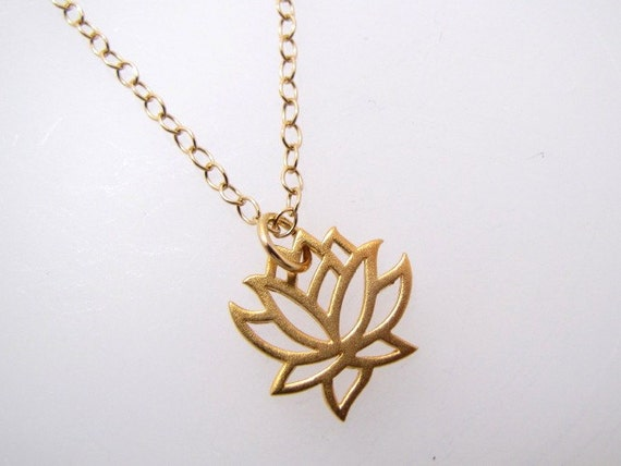 Lotus Charm Gold Filled Necklace
