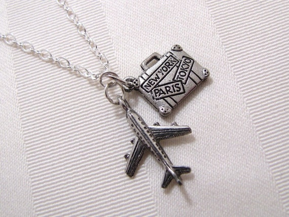 Airplane And Suitcase Leaving On A Jet Plane Charm Necklace