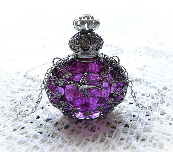 Glass Perfume Bottle Necklace Purple Filigree Wrapped With Bird Antiqued Silver