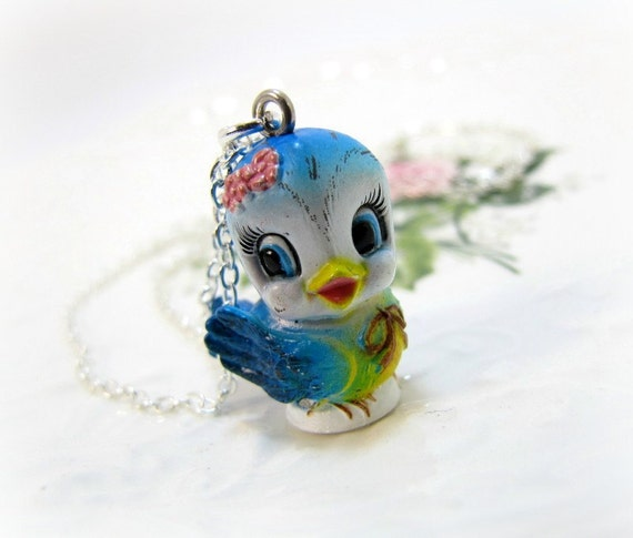Bluebird Necklace Lefton Replica Cute Bird Jewelry Kawaii