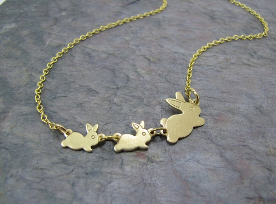 Bunny Rabbit Necklace Vintage Bunnies Mama And Baby Flopsy And Mopsy