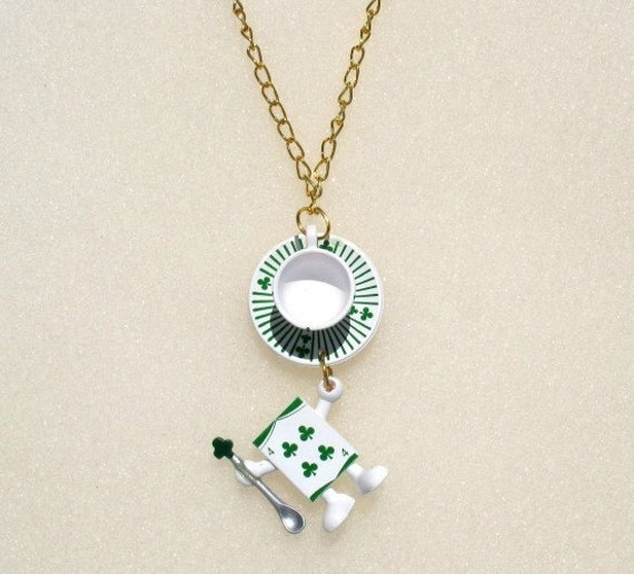 Tea Cup and Playing Card Necklace