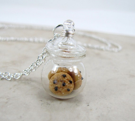 Chocolate Chip Cookie Jar Necklace Miniature Food Jewelry