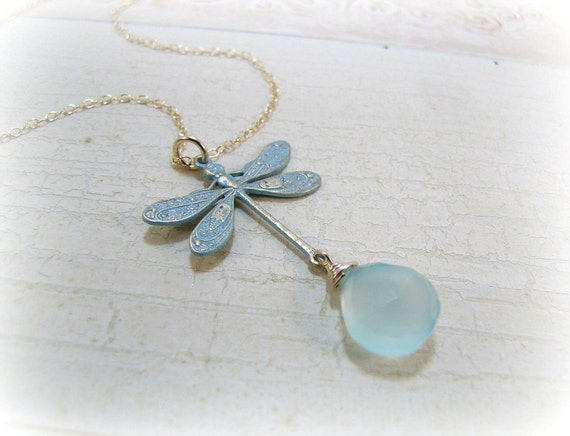 Dragonfly Necklace - Gemstone Necklace, 14K Gold Filled Jewelry - Dance Of The Dragonfly
