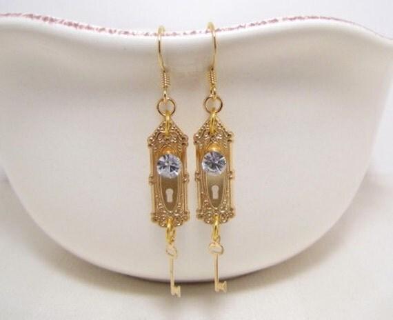 Doorknob And Key Earrings, Alice In Wonderland Jewelry