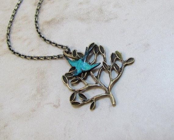 Brass Tree And Bluebird Necklace