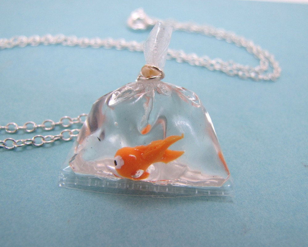 Goldfish in a bag necklace for Plastic koi fish