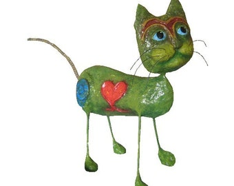 Pattern for Springy Kitty Paper Mache Cat