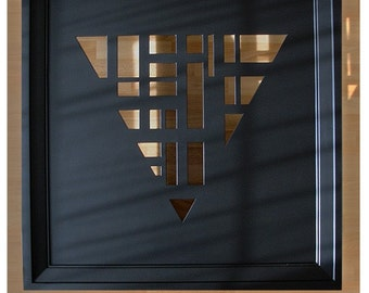 MSTRF / 33 - 30 x 30 Black Lacquer Wall Art with Triangle Geometric Cutout Pattern