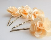 Light yellow Rose Flower bobby pin set (4pcs)