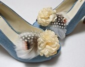 Feather satin ruffle flower shoe clips in Cream Ivory