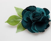 4 inches Suede Flower with leaf Hair Clip-Your Color Choice